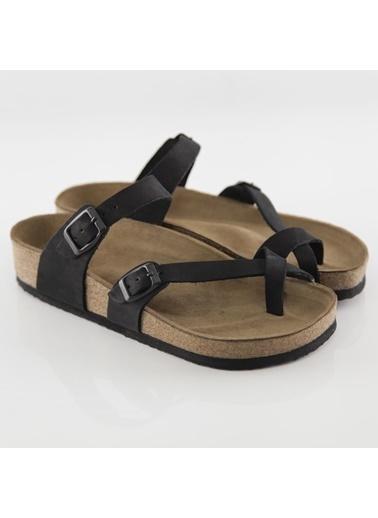 Ballerins Hakiki Deri Sandalet Siyah